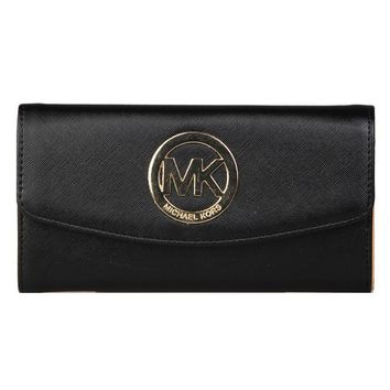"""Michael Kors"" Women MK Purse Clutch Fashion Simple Metal Logo Letter Long Section Double Layer Button Flip Wallet"