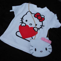 Hand paint t-shirt for a little girl, Hello Kitty t-shirt for a princess, T-shirt handbag and elastic set for a baby