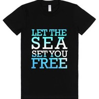 Let The Sea Set You Free (Junior)-Female Black T-Shirt
