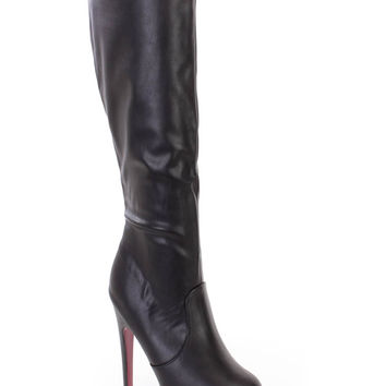 Black Pink Bottoms 6 Inch High Heels Boots Faux Leather