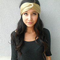 Beige Gold Turban Headband  Gold Hippie Headband Beige Bohemian Hair Accessories