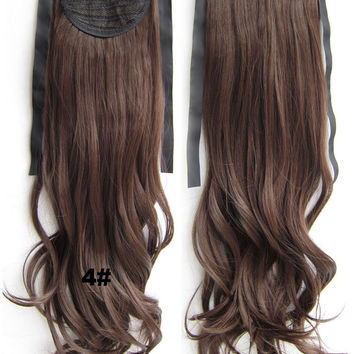 4# Curly hair,Kinky wavy Wig Hairpiece,Ribbon Ponytail,synthetic hair wig,womanwigs,wig hairs,Accessories,High-temperature wire RP-888