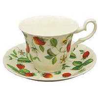 2 Alpine Strawberry English Bone China Teacups and Saucers