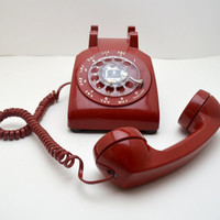 Vintage RED Rotary Phone, Working Rotary Telephone, AT&T, 1960s - 1970s