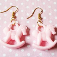 Pastel Pink Rocking Horse Earrings, Fairy Kei Kitsch Earrings