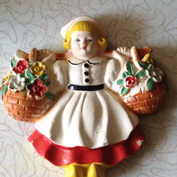 Chalkware Plaque Dutch Girl 1940s Hand Painted Vintage Kitchen Decor Shabby Chic Kitsch Cottage Design