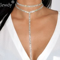 2017 Rhinestone Double Choker Necklaces Lariat Chain Pendant 90s Collier Femme Tassel Chocker Statement Maxi Collar Jewellery