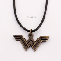 DC Comics: Wonder Woman Logo Pendant with Leather Cord Necklace