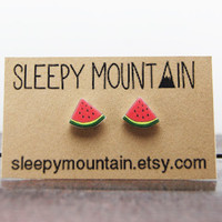 Watermelon Earrings - Nickel Free Fruit Stud Earrings