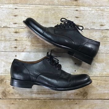 FRYE Phillip Cap Toe Oxford Black Leather Shoes Mens US Size 11 D