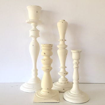 Tall candle stick holders, wood, cream/off white, set of 4