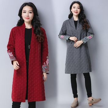 2017 New Autumn And Winter Embroidery Long Women Coat Vintage Cardigan Casual Artistic Loose Coats
