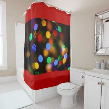 Multicolored Christmas lights. Shower Curtain
