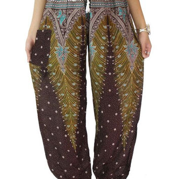 Unisex Peacock pant Harem Hippie pants  one size fits