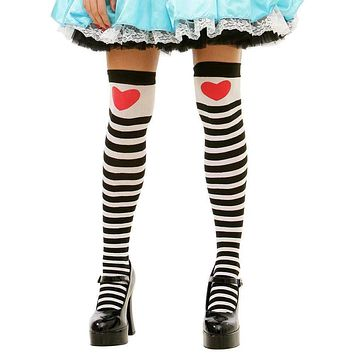 Heart Adorned Ladies Black & White Striped Thigh High Tights