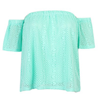 Mint Blue Off Shoulder Mesh Blouse