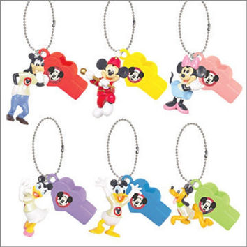 Yujin Disney Characters Capsule World Gashapon 6 Whistle Strap Mascot Figure Set