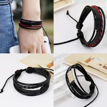 Sale 1pc Fashion Men Cool Leather Bracelet Weave Multilayer Surfing Wristbands Leather Wristband Adjustable Fashion Jewelry Gift