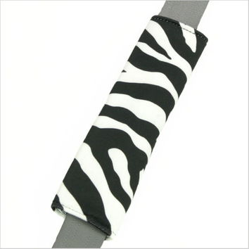 Zebra Stripe White Black Seat Belt Pad