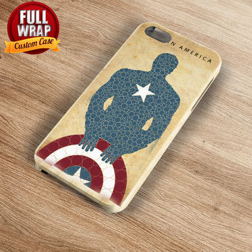 Captain America Silhouette Art Work Full Wrap Phone Case For iPhone, iPod, Samsung, Sony, HTC, Nexus, LG, and Blackberry