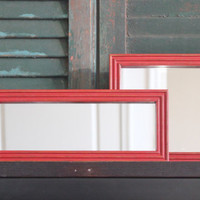 Rustic red distressed chucky wood framed mirror duo - Painted mirror, framed mirrors, upcycled mirrors, red decor