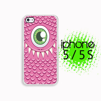 Green Eyed Monster iPhone 5S Case | iPhone 5 Hard Case For iPhone 5 Pink and Green Plastic or Rubber Trim
