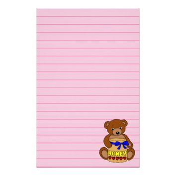 Teddy Bear and Honey Jar Art Graphic Stationery