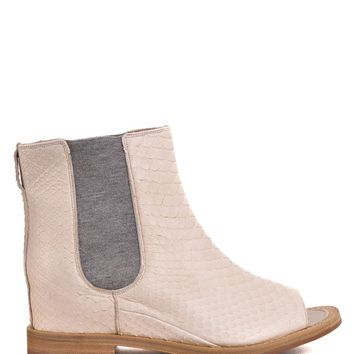 Brunello Cucinelli Womens Ivory Python Embossed Chelsea Boot