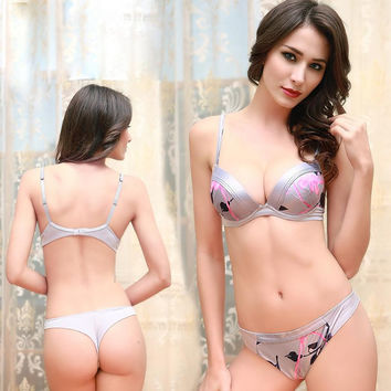 Sexy Bra Set Satin Silky Padded Push Up Bras Acousma Brand Lingerie Flower Silver Cheeky Brassiere Thong Sets France Underwear