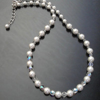 Bridal White Pearl Crystal Necklace,  Clear Swarovski Round Pearl Sterling  Silver Bridal Necklace