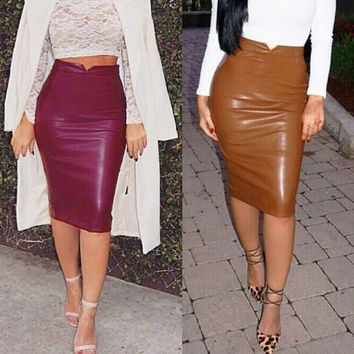 New Women Faux Leather Skirt Bandage Bodycon Vintage High Waist Pencil Skirts  F_B = 5616978561