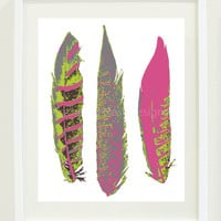 "Feather Art Print - 8""x10"" - Bright Chartreuse, French Roast, Pink Flambé and Titanium"