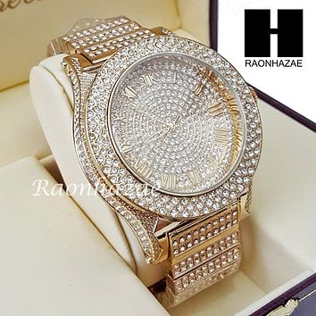Men's Hip Hop Iced Out 14K Gold PT Bling Lab Diamond Techno King Rapper Watch L3