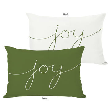 Joy Mix & Match Holiday - Ivory Green Throw Pillow by OneBellaCasa.com