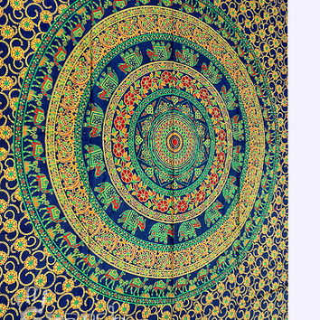 Hippie Mandala Floral Tapestry,Hippie Wall Hanging,Cotton Bedspread Bed sheet,Indian Ethnic Decor Tapestry,hippie tapestry wall decorative