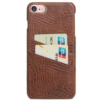 CROC CARD HOLDER PHONE CASE TAN