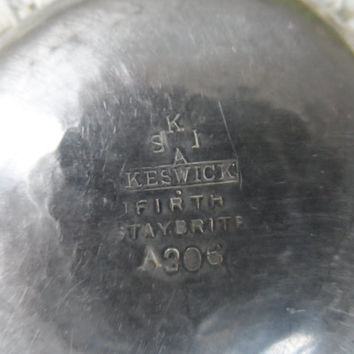 Antique arts & crafts ashtray - Keswick school of industrial arts - vintage English hand hammered pewter - metal ware antique decor