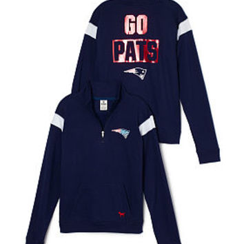 New England Patriots Bling Boyfriend Half-Zip - PINK - Victoria's Secret