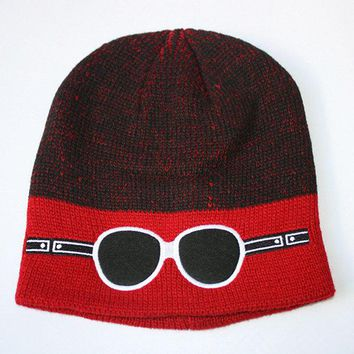 Mens Cartoon Glasses Pattern Knitted Beanie Hat Casual Sport Woolen Warm Ski Hat