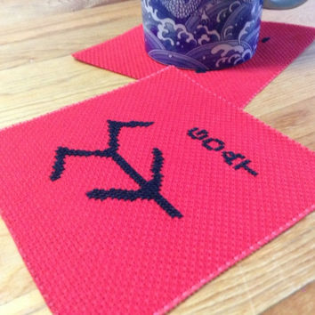 Red square fabric coaster Embroidery coaster with oracle bone script of goat Ancient word Pictograph script of goat Free shipping