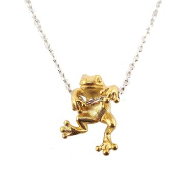 Realistic Frog Pendant Dangling on a Chain Necklace in Gold | Animal Jewelry