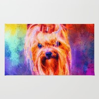 Jazzy Yorkshire Terrier Colorful Dog Art by Jai Johnson Rug by Jai Johnson