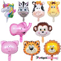 10pcs Mini Animal Foil Balloons Unicorn & Lion & Monkey & Zebra & Deer & Cow Animal Head Air Balloon birthday party Decor