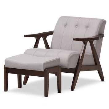 Baxton Studio Enya Mid-Century Modern Walnut Wood Grey Fabric Lounge Chair Set Set of 1