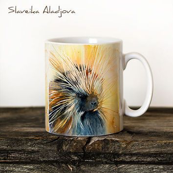 Porcupine  Mug Watercolor Ceramic Mug Unique Gift Coffee Mug Animal Mug Tea Cup Art Illustration Cool Kitchen Art Printed mug