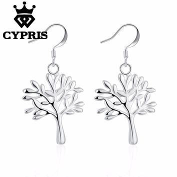new arrival Silver tree of life hot classic religionxmas tree  lady earrings drop gift xmas hot plant round girlfriend female