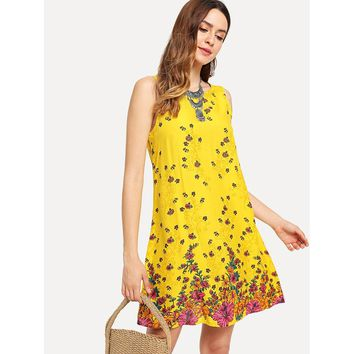 Yellow Round Neck Floral Print Sleeveless Shift Dress