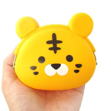 Cartoon Tiger Shaped Mimi Pochi Animal Friends Silicone Clasp Coin Purse Pouch