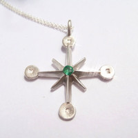 Pablo Valencia- Sterling Silver and Emerald Compass Wind Rose Necklace