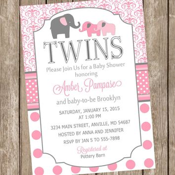 Twin Girl Baby Shower Invitation, twin girl, elephants, girl twins, pink, gray, damask baby shower invitation, polka dots, baby girl invite